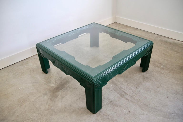 Postmodern Green Lacquer Coffee Table In Good Condition For Sale In St. Louis, MO