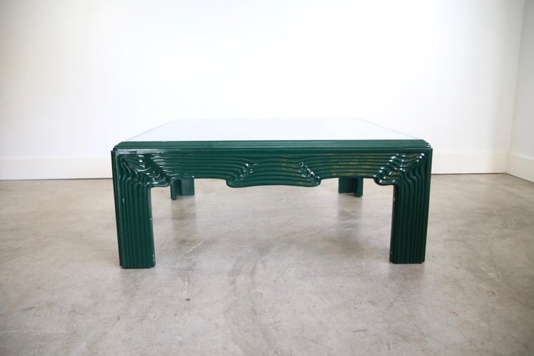 20th Century Postmodern Green Lacquer Coffee Table For Sale