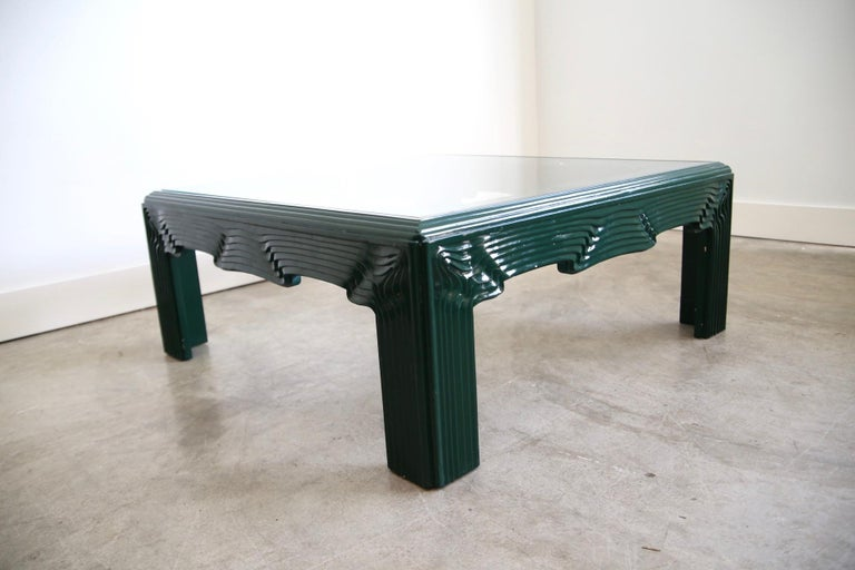 Oak Postmodern Green Lacquer Coffee Table For Sale