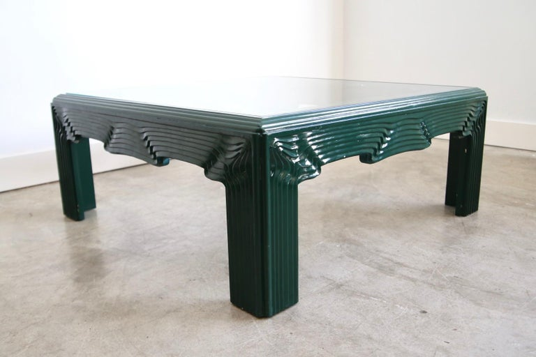 Postmodern Green Lacquer Coffee Table For Sale 1