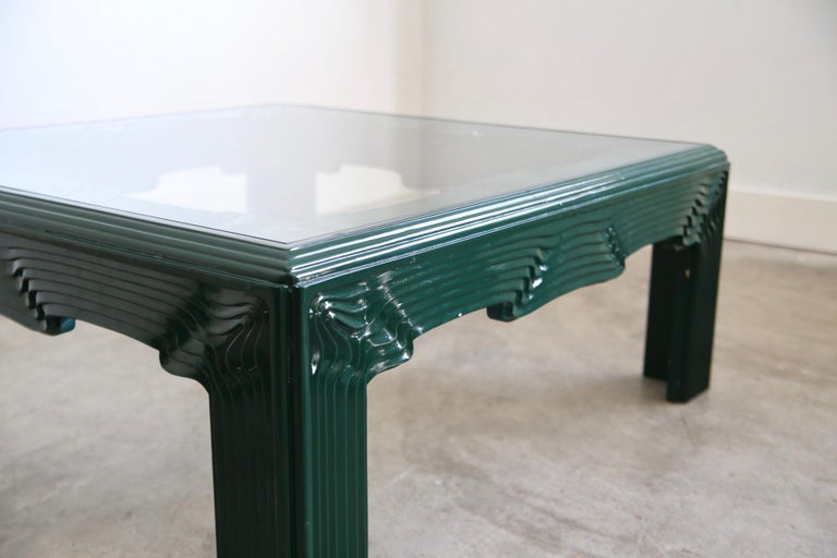 Postmodern Green Lacquer Coffee Table For Sale 2