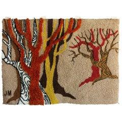 Postmodern Hand-Hooked Tapestry Rug