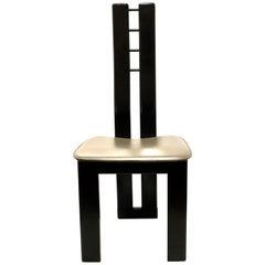 Post Modern Italian Chair Leather Seat and Ebonized Satin Finish on Wood Frame