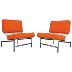 Postmodern Italian Chrome Pair of Lounge Chairs