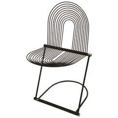 Postmodern Italian Metal Spring Chair in Black Enamel Metal and Aluminum
