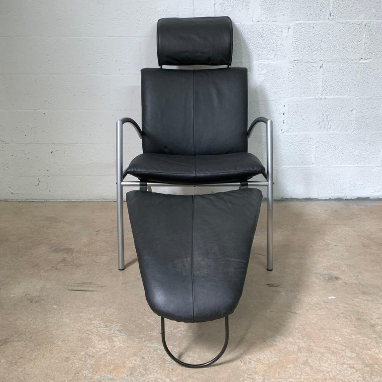 Post-Modern Postmodern Kebe Leather Convertible Lounge or Armchair, Denmark For Sale