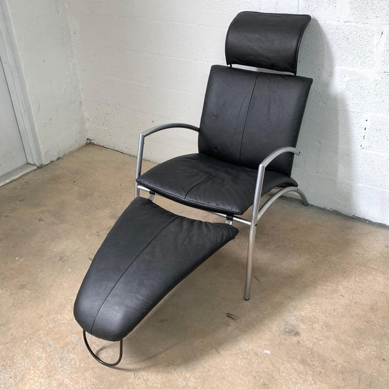 Danish Postmodern Kebe Leather Convertible Lounge or Armchair, Denmark For Sale