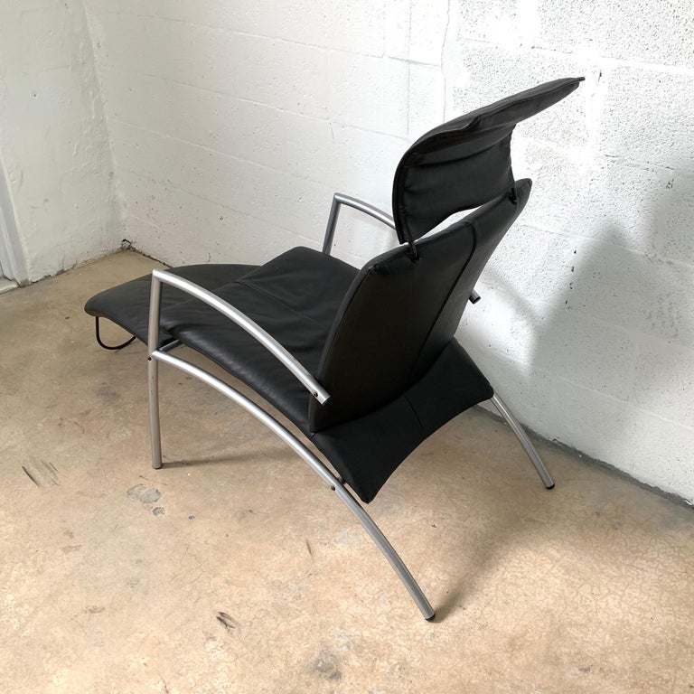 20th Century Postmodern Kebe Leather Convertible Lounge or Armchair, Denmark For Sale