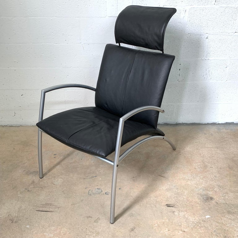Steel Postmodern Kebe Leather Convertible Lounge or Armchair, Denmark For Sale