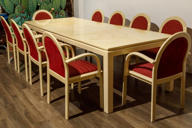 Post-Modern Lacquered Goatskin Dining Set with Ten Chairs, 1970s Italy, Signed For Sale 12