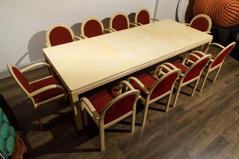 Post-Modern Lacquered Goatskin Dining Set with Ten Chairs, 1970s Italy, Signed For Sale 13