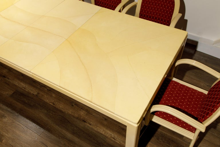 Post-Modern Lacquered Goatskin Dining Set with Ten Chairs, 1970s Italy, Signed For Sale 15