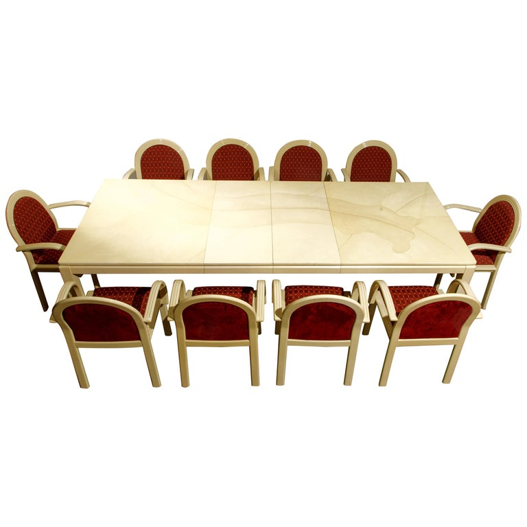 Post-Modern Lacquered Goatskin Dining Set with Ten Chairs, 1970s Italy, Signed For Sale
