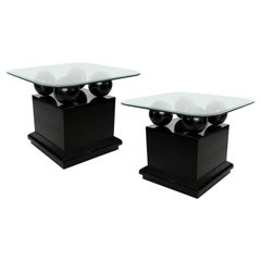 Postmodern Lacquered Side/End Tables with Faux Black Marble Spheres