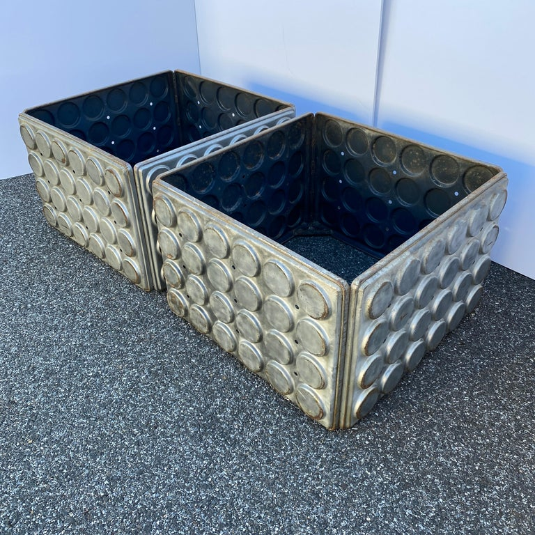Post Modern Large Industrial Lego Brushed Metal Cocktail Coffee Tables For Sale 4