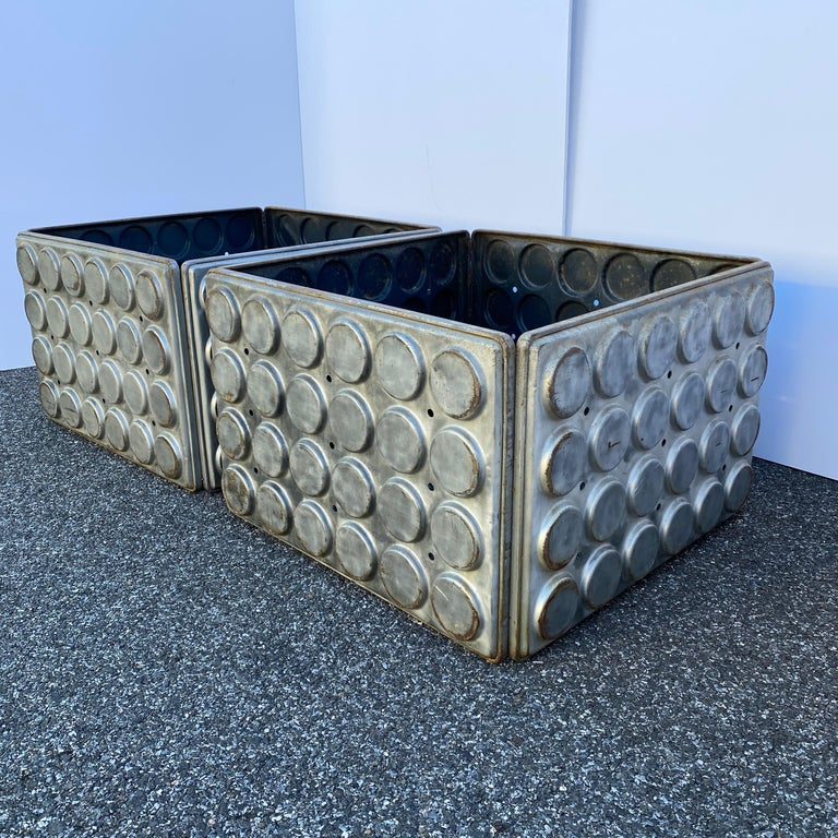 Post Modern Large Industrial Lego Brushed Metal Cocktail Coffee Tables For Sale 5