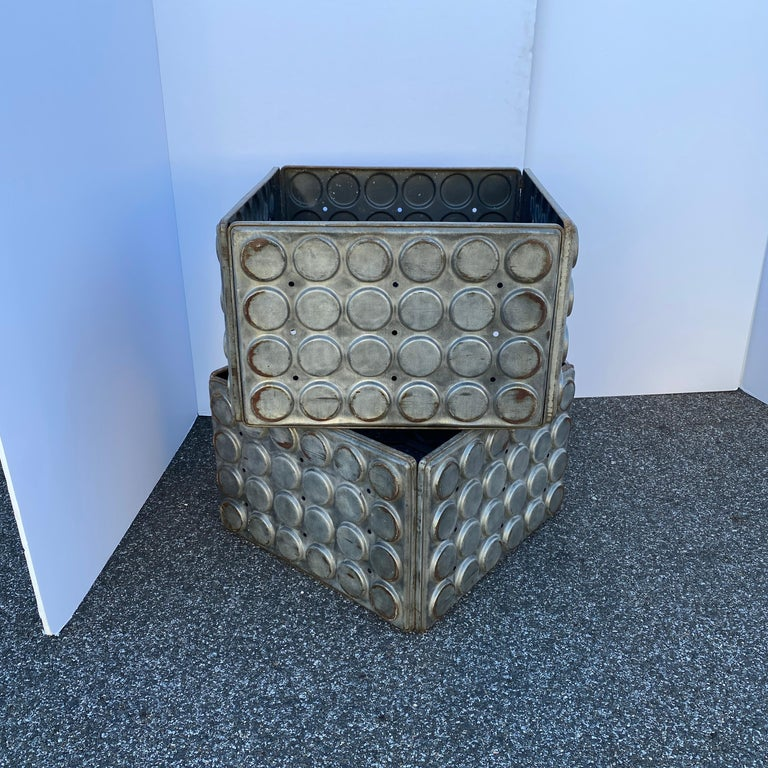 Post Modern Large Industrial Lego Brushed Metal Cocktail Coffee Tables For Sale 13