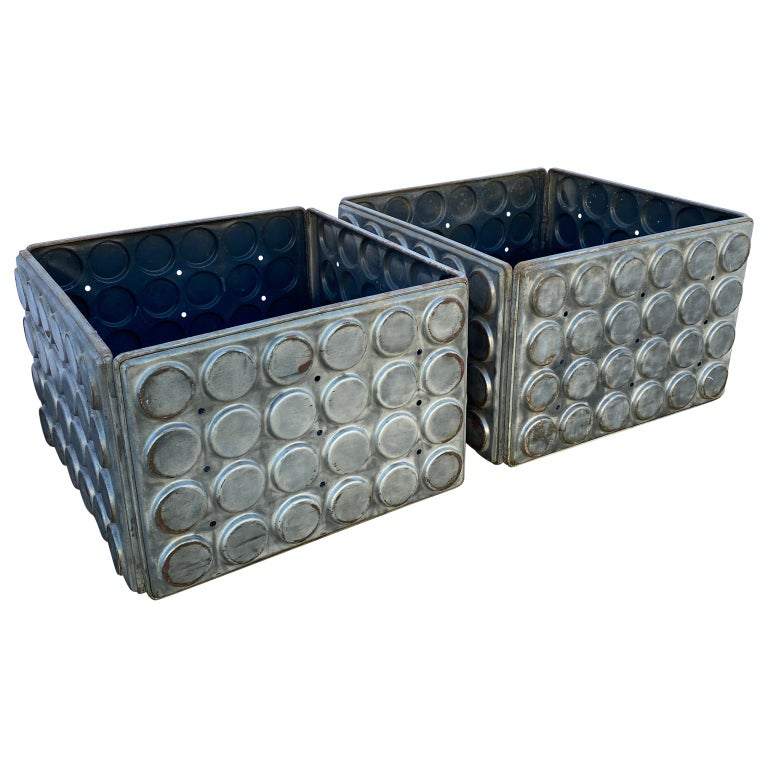 American Post Modern Large Industrial Lego Brushed Metal Cocktail Coffee Tables For Sale
