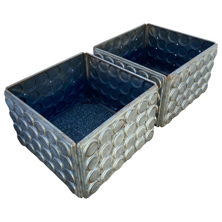 Post Modern Large Industrial Lego Brushed Metal Cocktail Coffee Tables In Good Condition For Sale In Haddonfield, NJ
