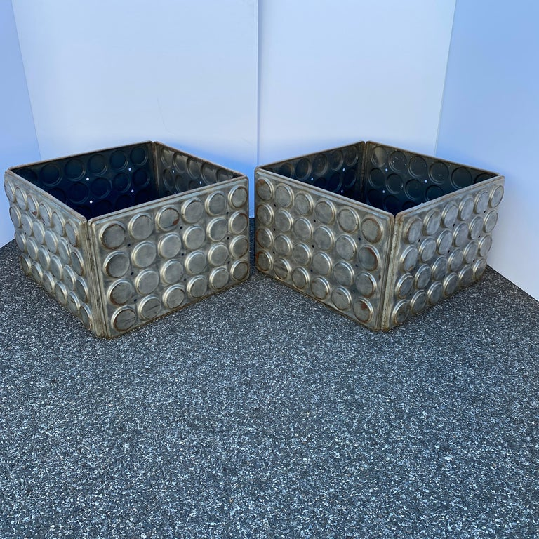 Post Modern Large Industrial Lego Brushed Metal Cocktail Coffee Tables For Sale 2