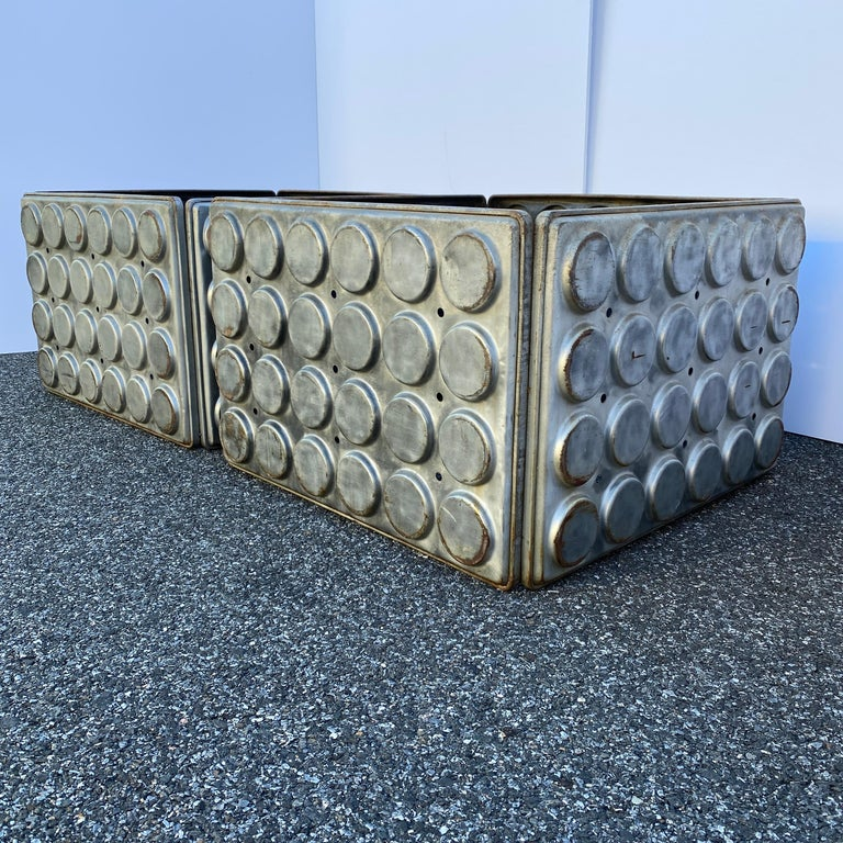 Post Modern Large Industrial Lego Brushed Metal Cocktail Coffee Tables For Sale 3