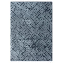 Post Modern Light Blue Abstract Repeat Pattern Rug with or without Fringe