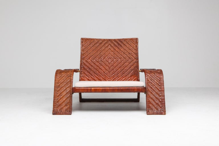 Post-Modern Postmodern Lounge Chair in Woven Leather by Marzio Cecchi For Sale