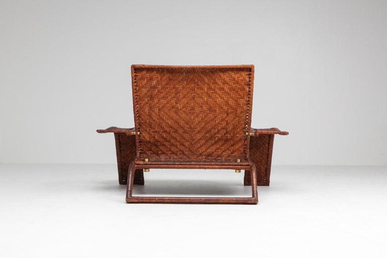Italian Postmodern Lounge Chair in Woven Leather by Marzio Cecchi For Sale