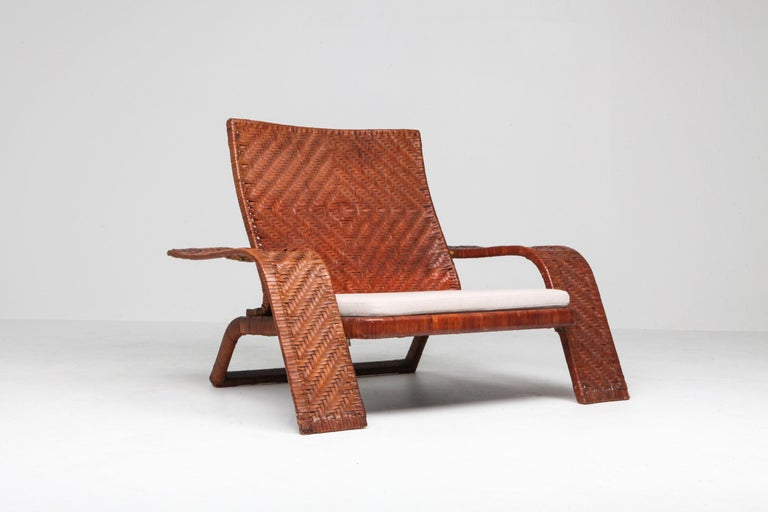 Postmodern Lounge Chair in Woven Leather by Marzio Cecchi In Good Condition For Sale In Antwerp, BE