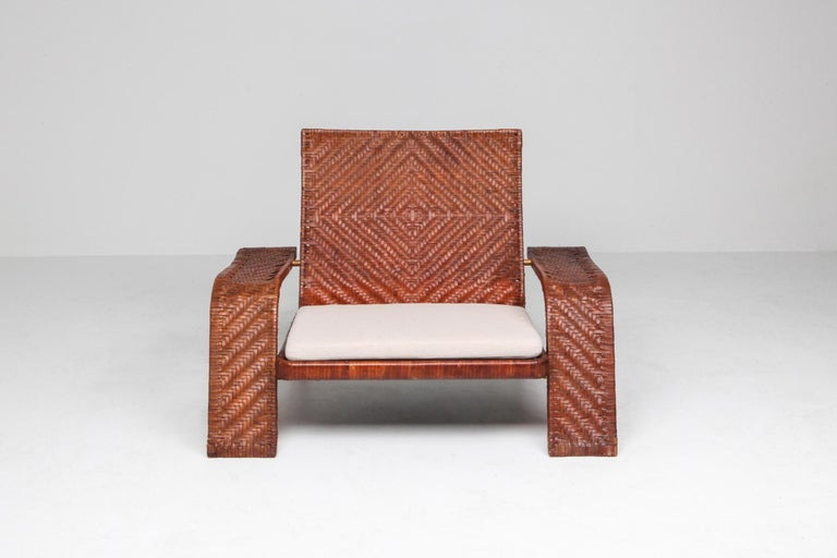 20th Century Postmodern Lounge Chair in Woven Leather by Marzio Cecchi For Sale