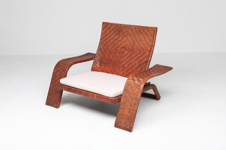 Brass Postmodern Lounge Chair in Woven Leather by Marzio Cecchi For Sale