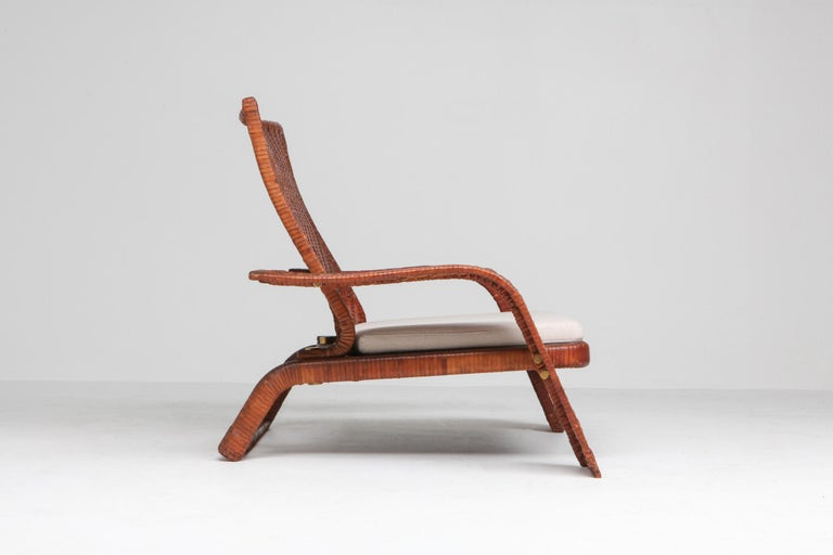 Postmodern Lounge Chair in Woven Leather by Marzio Cecchi For Sale 1