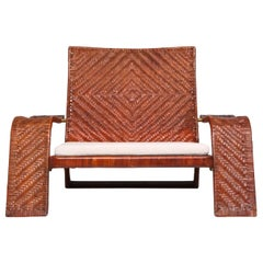 Postmodern Lounge Chair in Woven Leather by Marzio Cecchi