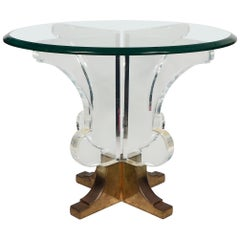 Post Modern Lucite and Brass Round Side Table
