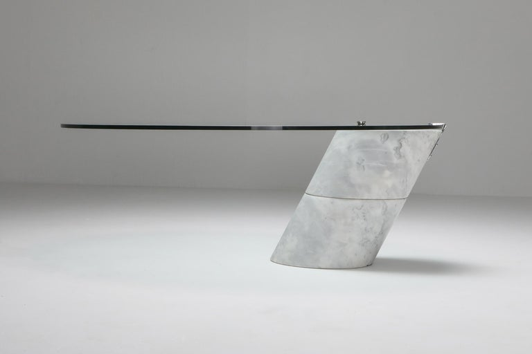 White marble and glass coffee table, Model K1000, by Team Form for Ronald Schmitt