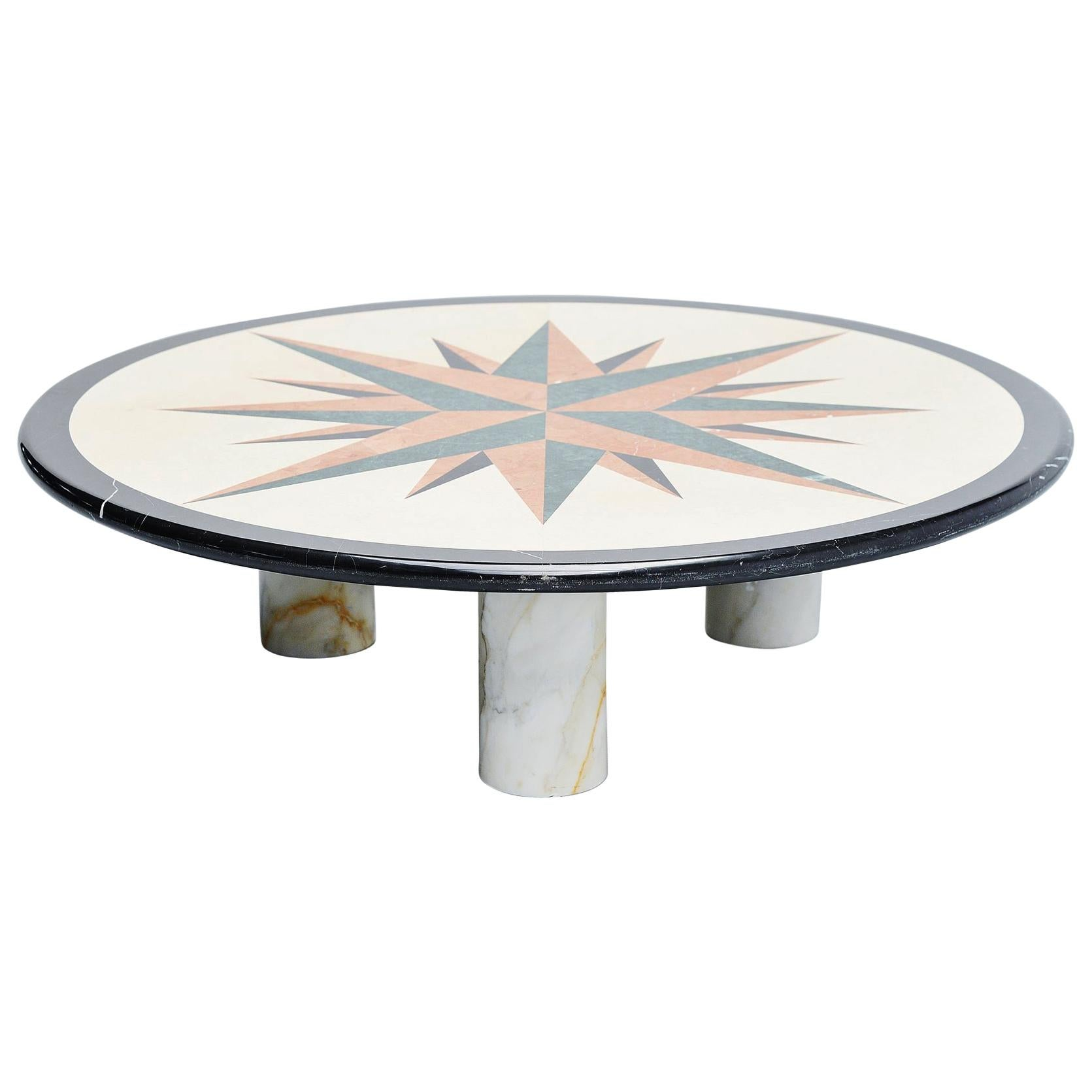 Post Modern Memphis Coffee Table in Marble, Italy, 1980