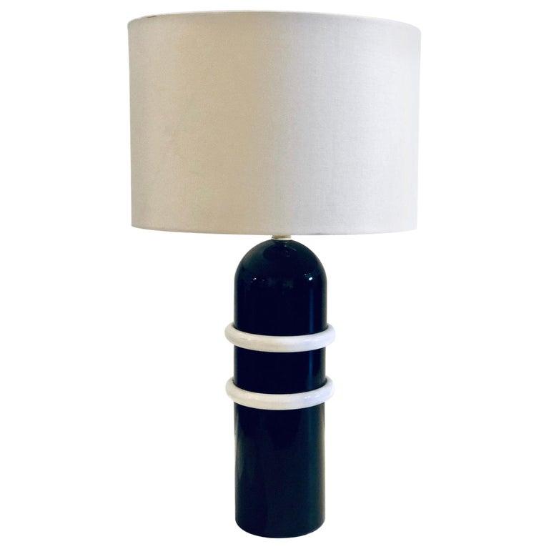 Postmodern Memphis Era Rare 1980s Metal Enameled Table Lamp For Sale
