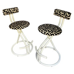 Post Modern Memphis Milano Style Geometric Swivel Stools by Cal-Style, Pair