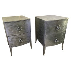 Postmodern Memphis Style Brushed Aluminum Nightstands / End Tables