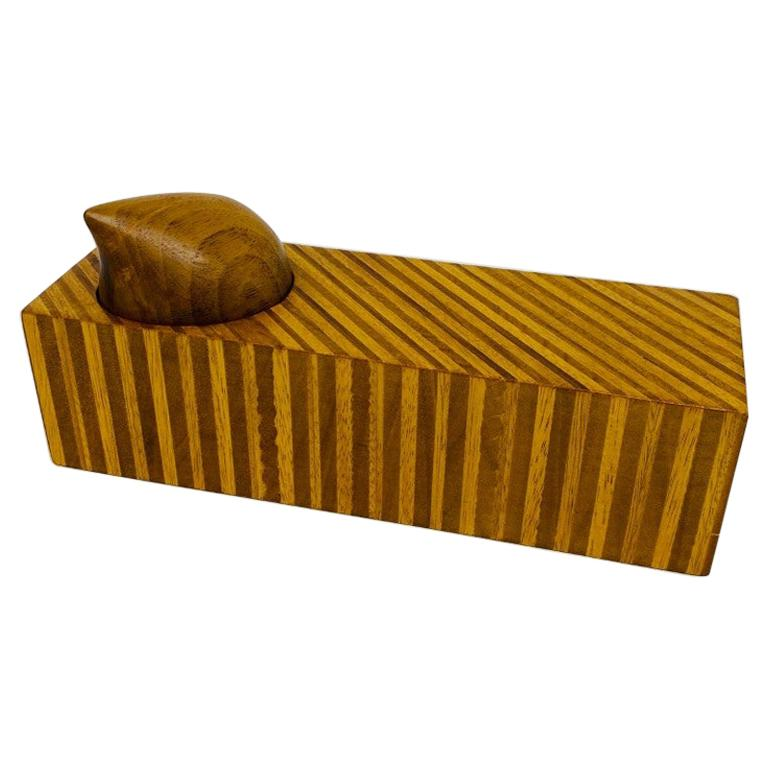 Postmodern Memphis Style Mixed Wood Trinket Box