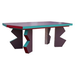 Postmodern Memphis Style Pink, Teal, and Purple Zig Zag Table