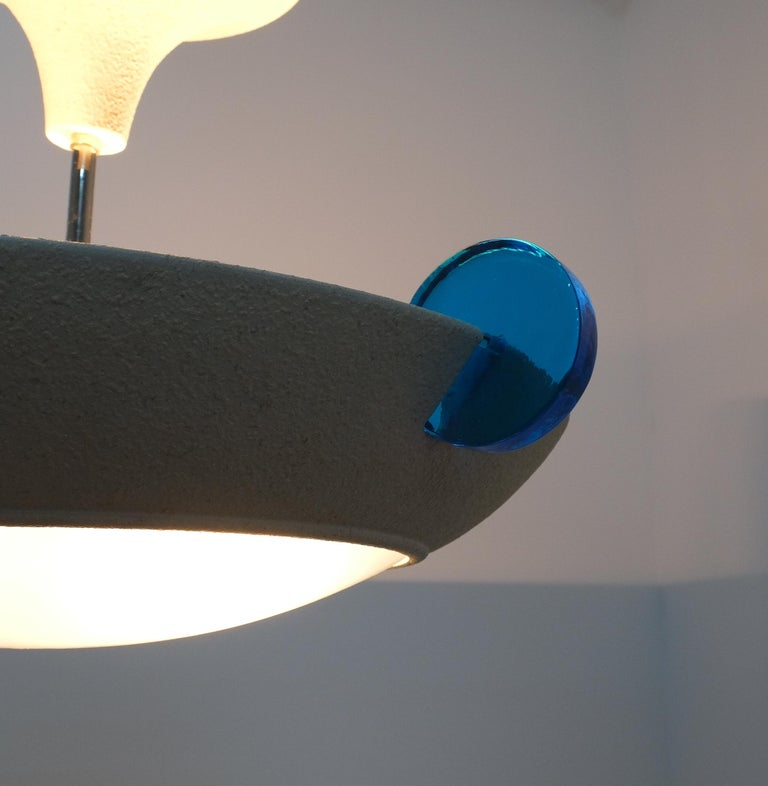 Lacquered Postmodern Memphis Style Semi Flush Mount or Chandelier, Italy For Sale