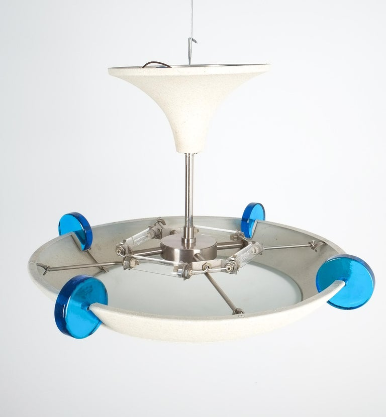 Late 20th Century Postmodern Memphis Style Semi Flush Mount or Chandelier, Italy For Sale