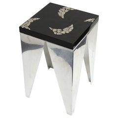 Postmodern Metal Stool or Side Table with Resin Top