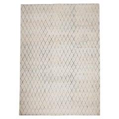 Postmodern Minimalist Diamond Pattern Hand-Knotted Cream Wool Rug