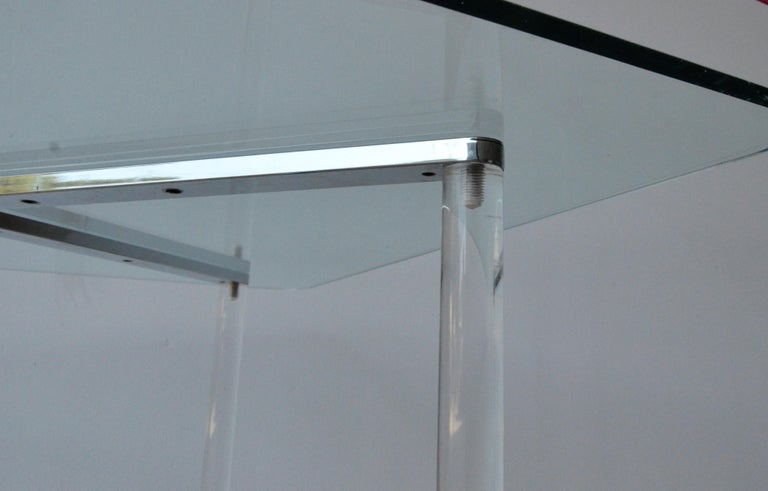 Minotti Style Square Lucite, Glass and Chrome X-Base Side /End / Cocktail Table For Sale 4