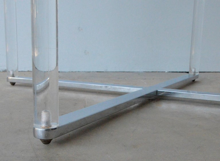 Minotti Style Square Lucite, Glass and Chrome X-Base Side /End / Cocktail Table For Sale 9