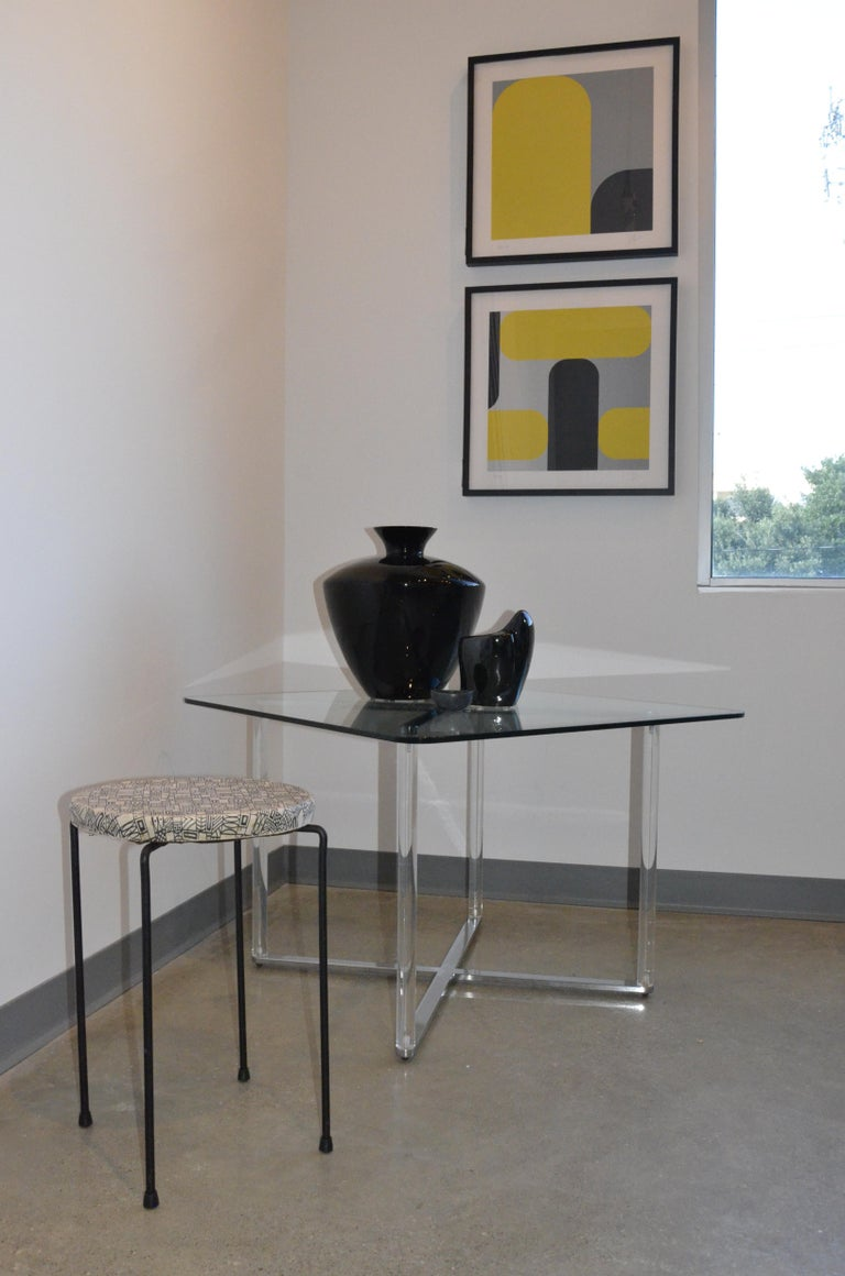 Minotti Style Square Lucite, Glass and Chrome X-Base Side /End / Cocktail Table For Sale 13
