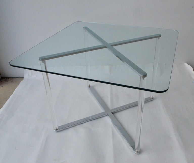 Italian Minotti Style Square Lucite, Glass and Chrome X-Base Side /End / Cocktail Table For Sale