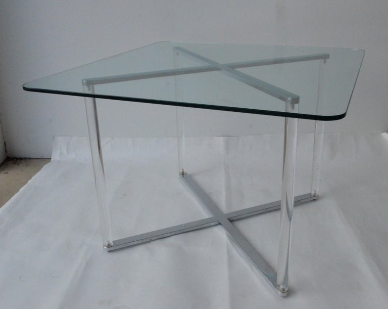 Plated Minotti Style Square Lucite, Glass and Chrome X-Base Side /End / Cocktail Table For Sale